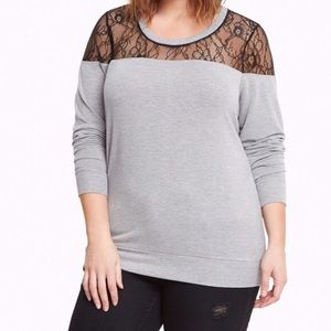 Torrid Size 3 Gray Lace Inset Sweater